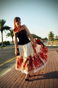 Wearing an over 80 years old authentic Croatian skirt.
